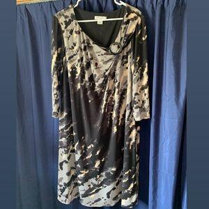 Plus size Black, Grey, and Tan Dress
